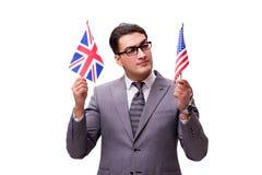 O homem de negócios novo com a bandeira isolada no branco imagem de stock royalty free