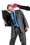 O homem de negócios novo com uma carteira é batido para fora Foto de Stock