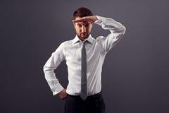 O homem de negócios encontra o trabalho novo Fotografia de Stock