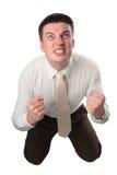 O homem de negócios novo mostra o sinal Imagens de Stock Royalty Free