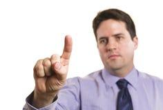 O homem de negócios opera o écran sensível Fotos de Stock