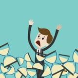 O homem de negócios ou o gerente estão afogando-se nos sandglass Afrouxando o tempo Ilustração do vetor imagem de stock royalty free