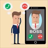 O homem de negócios pensa para receber uma chamada do chefe ou não Ilustração do vetor ilustração royalty free