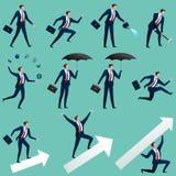 O homem de negócios perfura uma picareta a terra ilustração do vetor
