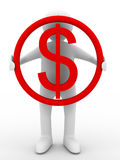 O homem de negócios prende o dólar no fundo branco Fotografia de Stock
