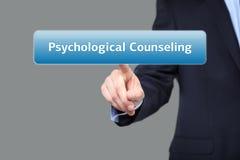 O homem de negócios pressiona a assistência psicológica do botão em telas virtuais Conceito da tecnologia, do Internet e dos trab Imagens de Stock