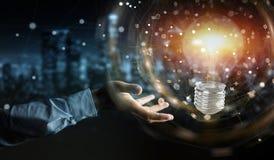 O homem de negócios que conecta ampolas modernas com as conexões 3D ren Fotografia de Stock