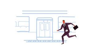 O homem de negócios que corre para travar o esboço subterrâneo do bonde do transporte público da cidade do metro do trem rabisca  ilustração royalty free