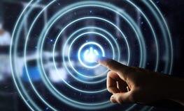 O homem de negócios que empurra 3D rende o botão do poder com seu dedo Imagens de Stock