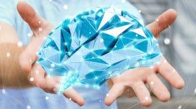 O homem de negócios que guarda o cérebro humano do raio X digital em sua mão 3D ren Fotografia de Stock Royalty Free