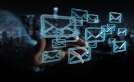O homem de negócios que guarda e que toca na flutuação envia por correio eletrónico a rendição 3D Foto de Stock