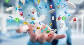 O homem de negócios que guarda e que toca nos comprimidos de flutuação 3D da medicina arranca Foto de Stock