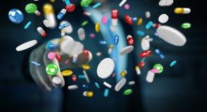 O homem de negócios que guarda e que toca nos comprimidos de flutuação 3D da medicina arranca Fotos de Stock