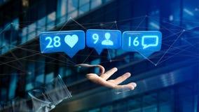 O homem de negócios que guarda a gosta, do seguidor e da mensagem notificação sobre Imagem de Stock