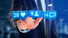 O homem de negócios que guarda a gosta, do seguidor e da mensagem notificação sobre Imagens de Stock Royalty Free
