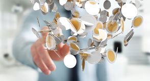 O homem de negócios que guarda a moeda do voo inventa em seu renderi da mão 3D Fotos de Stock Royalty Free