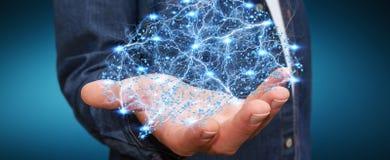 O homem de negócios que guarda o cérebro humano do raio X digital em sua mão 3D ren Fotos de Stock Royalty Free