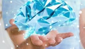 O homem de negócios que guarda o cérebro humano do raio X digital em sua mão 3D ren Fotografia de Stock