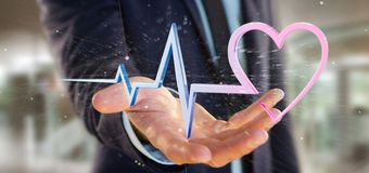 O homem de negócios que guarda um 3d que rende o coração médico curva-se Foto de Stock
