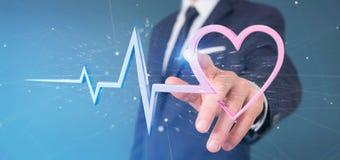 O homem de negócios que guarda um 3d que rende o coração médico curva-se Fotografia de Stock