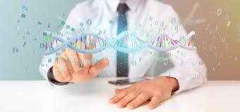 O homem de negócios que guarda uns dados da rendição 3d codificou o ADN com o fi binário Fotografia de Stock Royalty Free