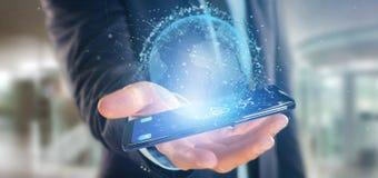 O homem de negócios que guarda uns dados da rendição 3d enterra o globo em um smartph Imagem de Stock