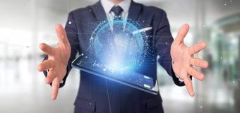 O homem de negócios que guarda uns dados da rendição 3d enterra o globo em um smartph Imagens de Stock Royalty Free