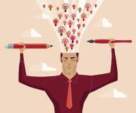 O homem de negócios que guardam um lápis e uma pena iluminam o cérebro da erupção ilustração stock