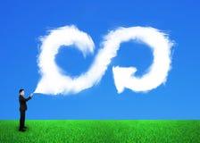 O homem de negócios que pulveriza para fora nubla-se a infinidade da seta que recicla o símbolo fotos de stock