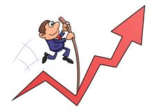 O homem de negócios que salta com o salto com vara Foto de Stock Royalty Free