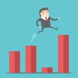 O homem de negócios que salta sobre a diferença ilustração royalty free