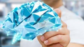O homem de negócios que tira o cérebro humano do raio X digital em sua mão 3D ren Fotografia de Stock Royalty Free