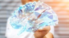 O homem de negócios que tira o cérebro humano do raio X digital em sua mão 3D ren Foto de Stock