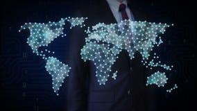 O homem de negócios que toca no ícone social dos povos, faz o mapa do mundo global, Internet das coisas Tecnologia financeira ilustração do vetor