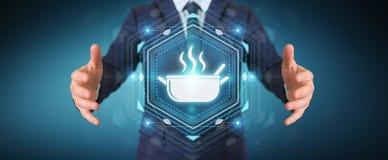 O homem de negócios que usa a aplicação para pedir em casa fez a alimento 3D em linha Foto de Stock