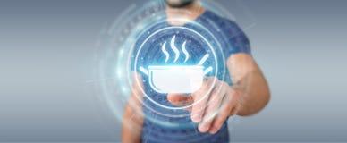O homem de negócios que usa a aplicação para pedir em casa fez a alimento 3D em linha Imagens de Stock