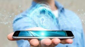 O homem de negócios que usa o cadeado digital com proteção de dados 3D rende Fotografia de Stock
