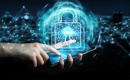O homem de negócios que usa o cadeado digital com proteção de dados 3D rende Imagem de Stock