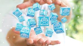 O homem de negócios que usa o cubo de flutuação envia por correio eletrónico a rendição 3D Foto de Stock