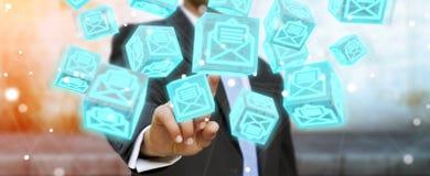 O homem de negócios que usa o cubo de flutuação envia por correio eletrónico a rendição 3D Imagens de Stock Royalty Free