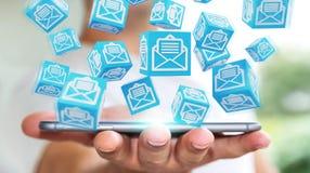 O homem de negócios que usa o cubo de flutuação envia por correio eletrónico a rendição 3D Fotografia de Stock