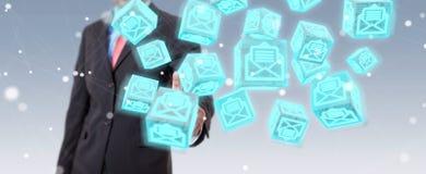 O homem de negócios que usa o cubo de flutuação envia por correio eletrónico a rendição 3D Fotos de Stock