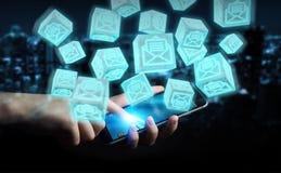 O homem de negócios que usa o cubo de flutuação envia por correio eletrónico a rendição 3D Imagem de Stock