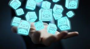 O homem de negócios que usa o cubo de flutuação envia por correio eletrónico a rendição 3D Fotos de Stock Royalty Free