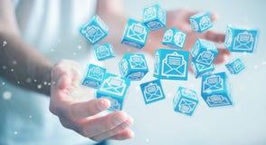 O homem de negócios que usa o cubo de flutuação envia por correio eletrónico a rendição 3D Imagens de Stock