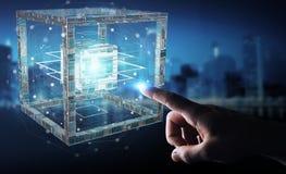 O homem de negócios que usa o cubo futurista textured a rendição do objeto 3D Foto de Stock