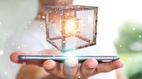 O homem de negócios que usa o cubo futurista textured a rendição do objeto 3D Foto de Stock Royalty Free
