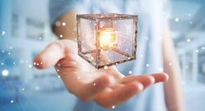 O homem de negócios que usa o cubo futurista textured a rendição do objeto 3D Fotos de Stock Royalty Free
