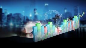 O homem de negócios que usa 3D digital rendeu o stats e o c da bolsa de valores Fotografia de Stock Royalty Free