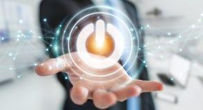 O homem de negócios que usa 3D rende o botão do poder com conexões Fotografia de Stock Royalty Free